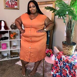 YOINS Orange Size 3X Plus Size Dress